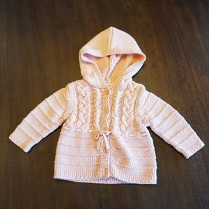 Janie and Jack pink hooded cardigan 6-12 months